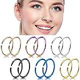 Nose Hoop Ring,18-20G 12PCS Stainless Steel Body Jewelry Piercing Nose Ring Hoop,Tragus Hoop Earring.