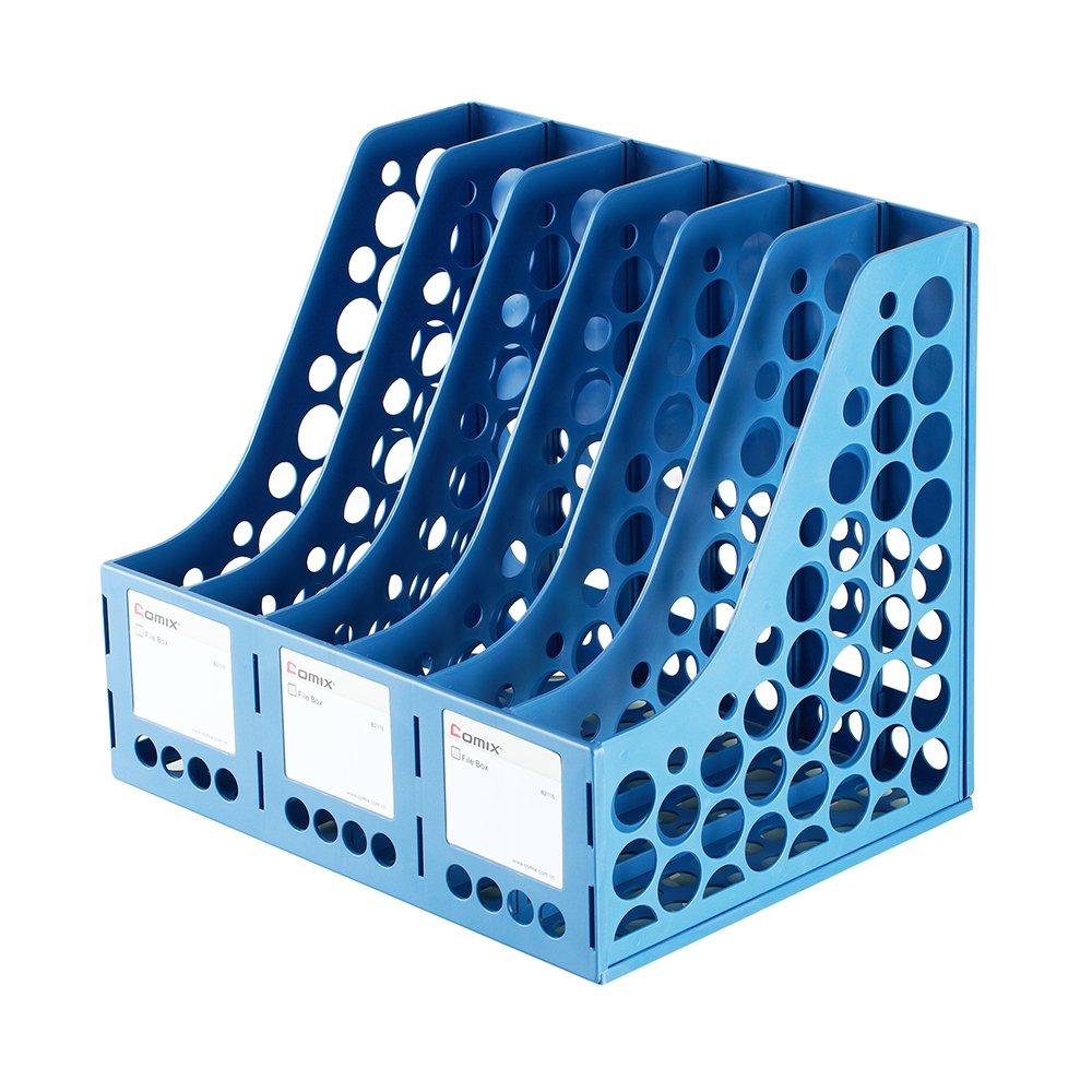 COMIX 6 Compartment File & Magazine Book Desktop Rack Holder Organizer (Grey) Comox