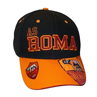 49144cc0a5e4e HAT AS ROMA 1927 BLACK - ORANGE OFFICIAL 16584 baseball caps  Amazon.co.uk   Clothing