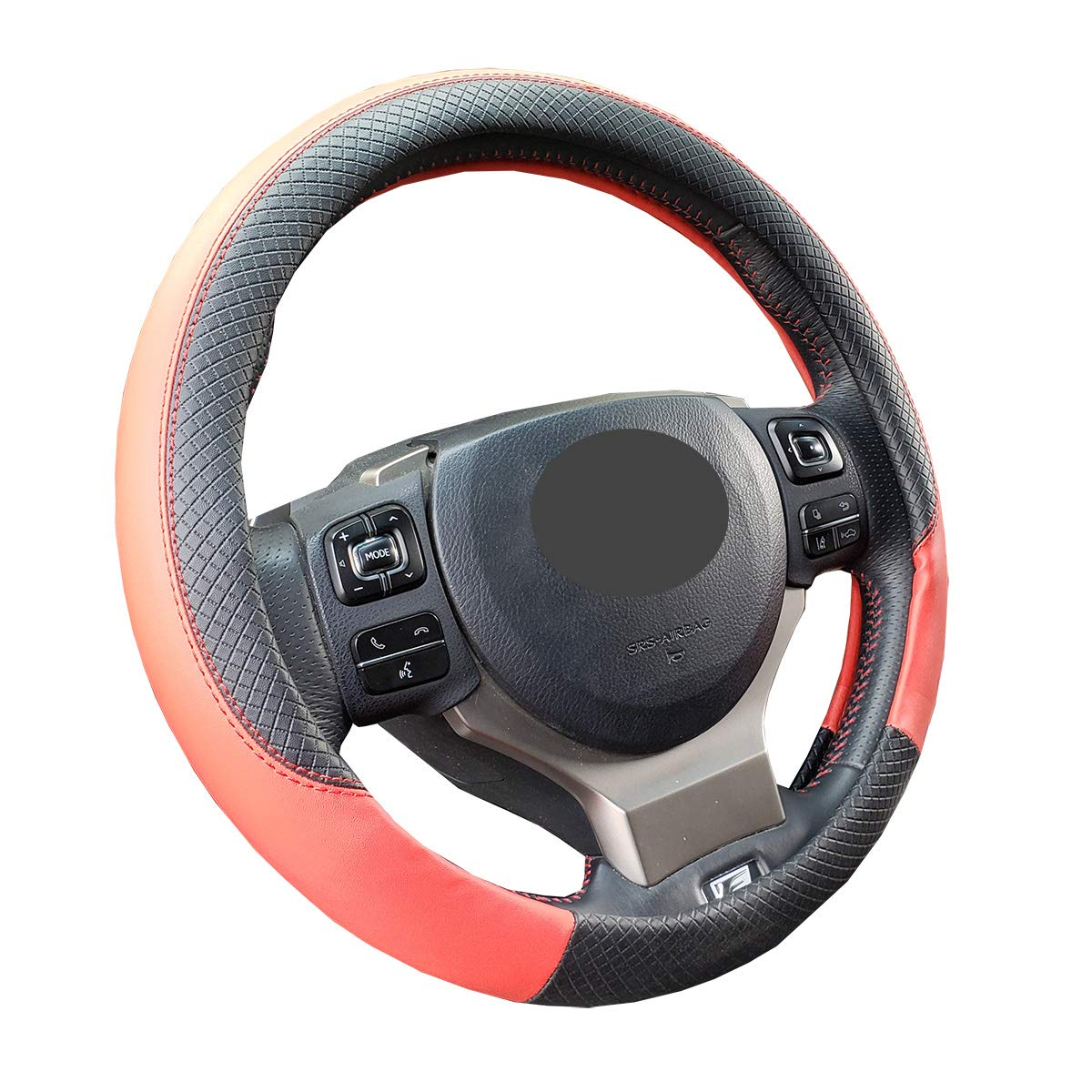 iSEATCOVER Steering Wheel Cover Genuine Leather Anti-Slip Universal 15 Inches for Car Truck SUV Breathable /& Better Grip