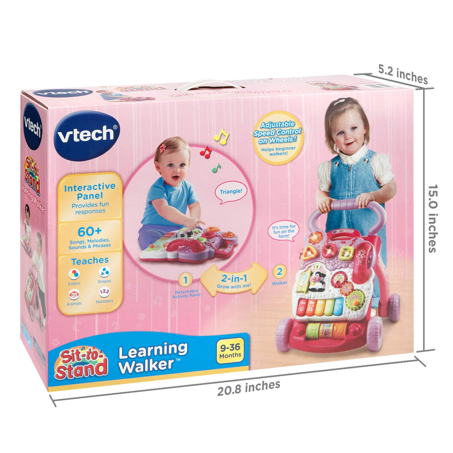 vtech Sit-to-Stand Learning Walker - Pink by vTech TOY (English ...