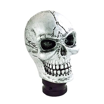 Silver Bashineng Skull Gear Shifter Knob Devil Head Shape Stick Shift Knobs for Universal Manual Truck SUV Car