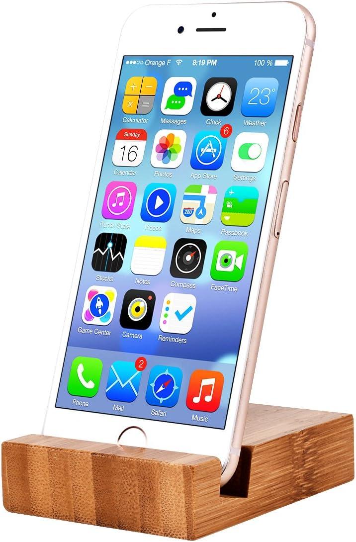 Soporte de escritorio para teléfono celular, de madera natural, triángulo, portátil, para todos los tipos de teléfono, como iPhone, Samsung, Huawei, ...