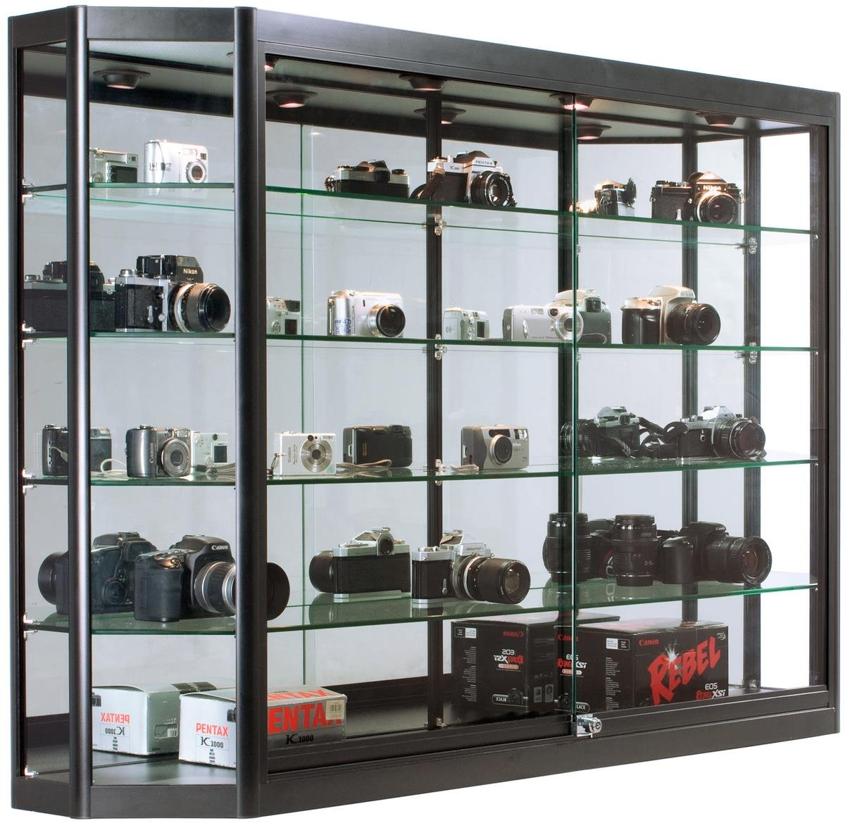 Displays2go Wall Hanging Display Cabinets for Retail Stores, (4) Tempered Glass Shelves, Aluminum Frame – Black (WC6012LEDB)