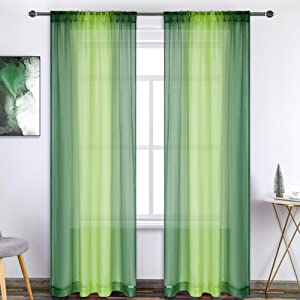 Dark Green Lime Green Ombre Sheer Curtains for Christmas Party Decor 63 Inch Length Voile Drapes Reversible Gradient Rod Pocket Sheer Curtains for Living Room Kids Room 2 Curtain Panels 52X63 Inch