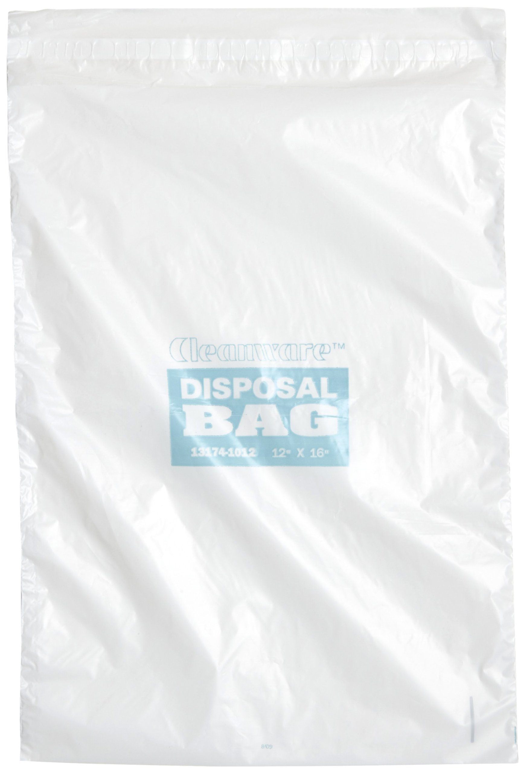Bel-Art F13174-1012 Cleanware Polyethylene White Self Adhesive Waste Bags; Holds 3 lb, 12 in. W x 16 in. H, 1.0 mil Thick (Pack of 50)