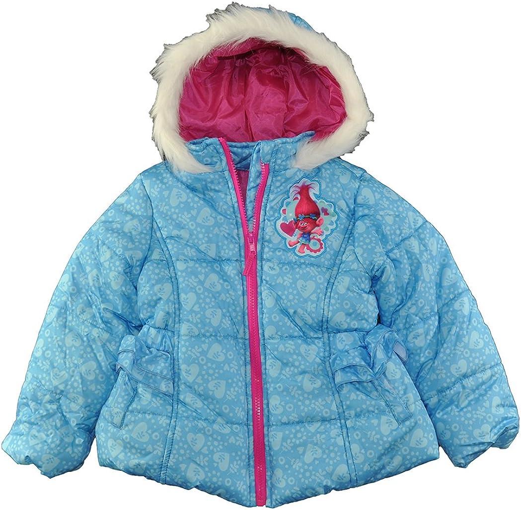 Trolls Little Girls Blue Printed Puffer Coat 6