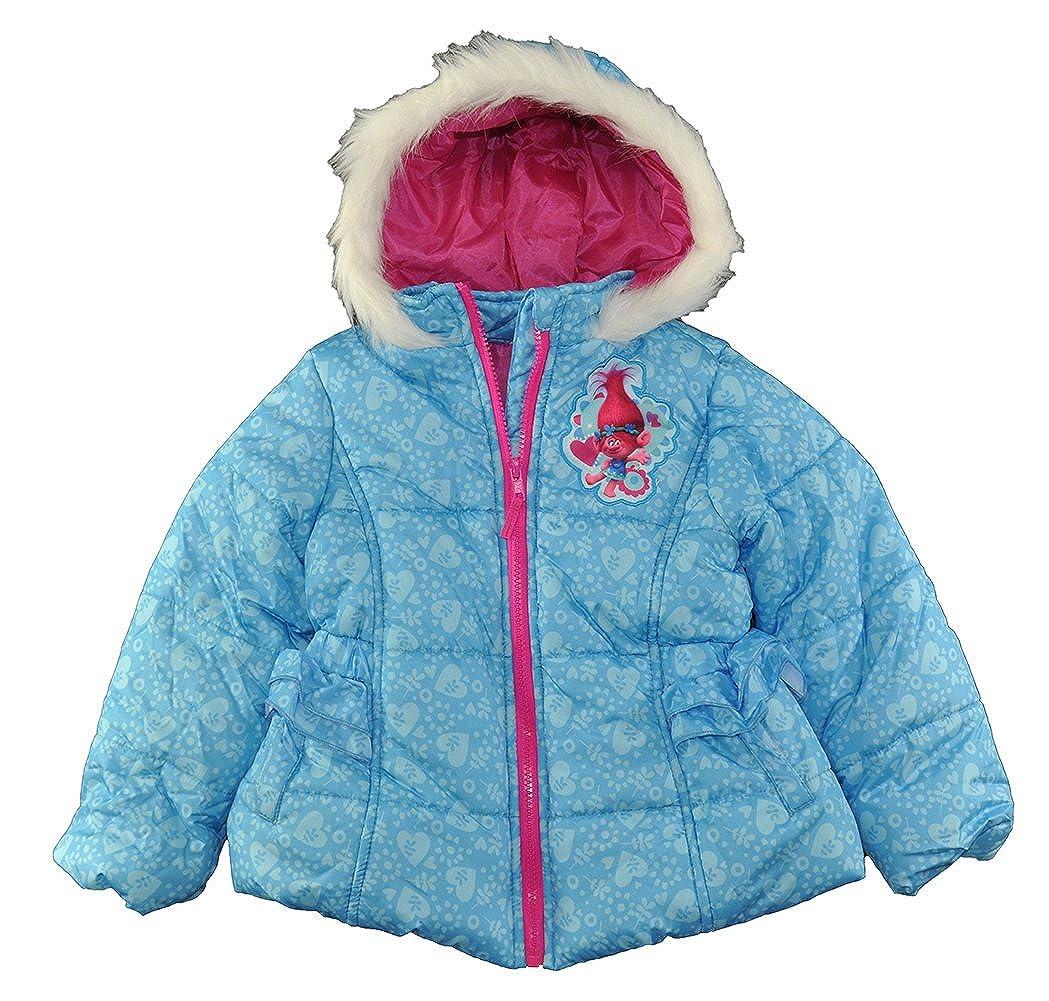 Trolls Little Girls' Blue Printed Puffer Coat, 4 8763939TRDW