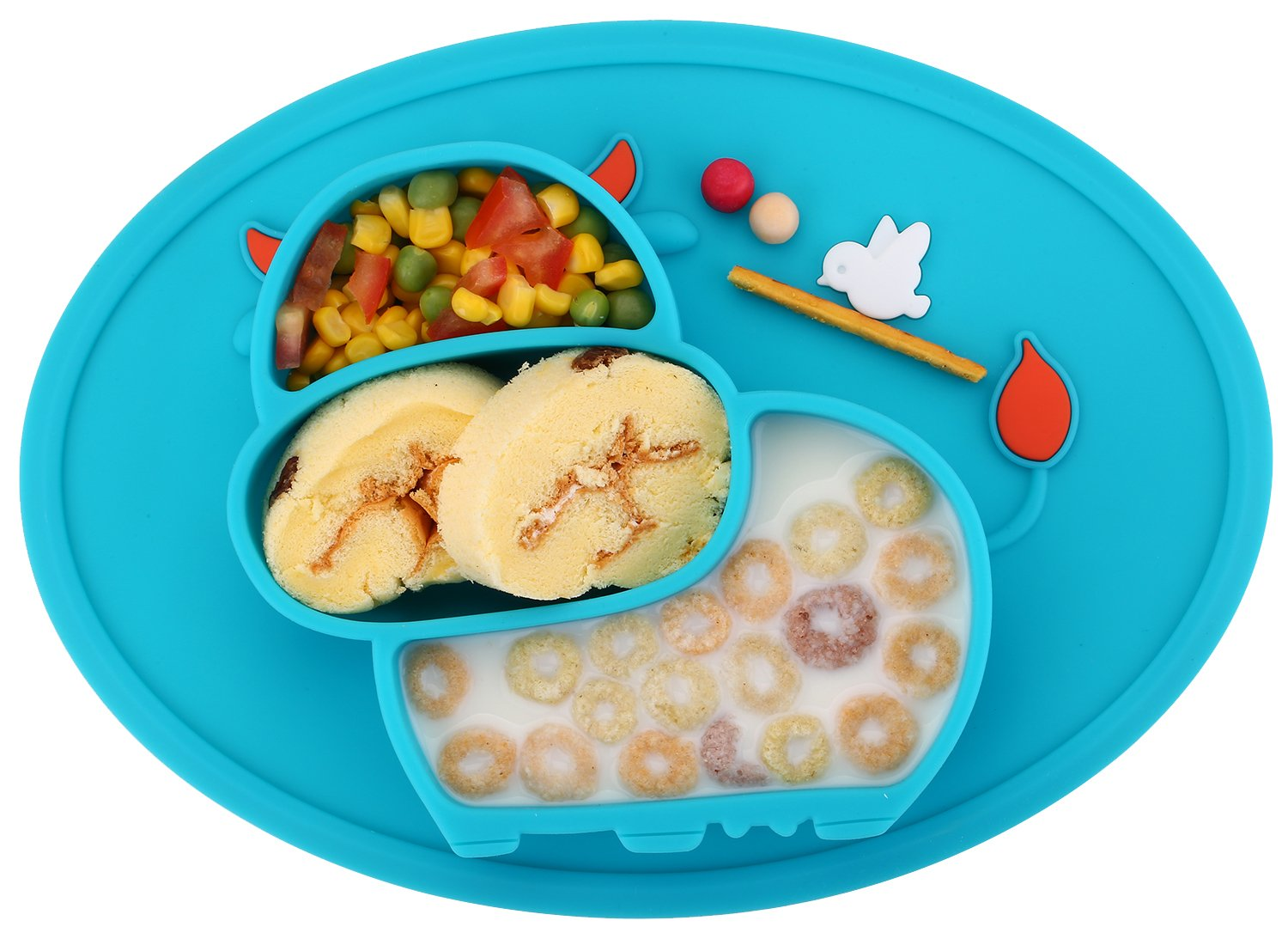 Qshare Toddler Plates, One-Piece Baby Plate for Babies Toddlers and Kids, Portable BPA-Free FDA Approved Strong Suction Plates for Toddlers, Dishwasher and Microwave Safe Silicone Placemat 11x8x1 Inch (Blue-Cow, Little-Cow)