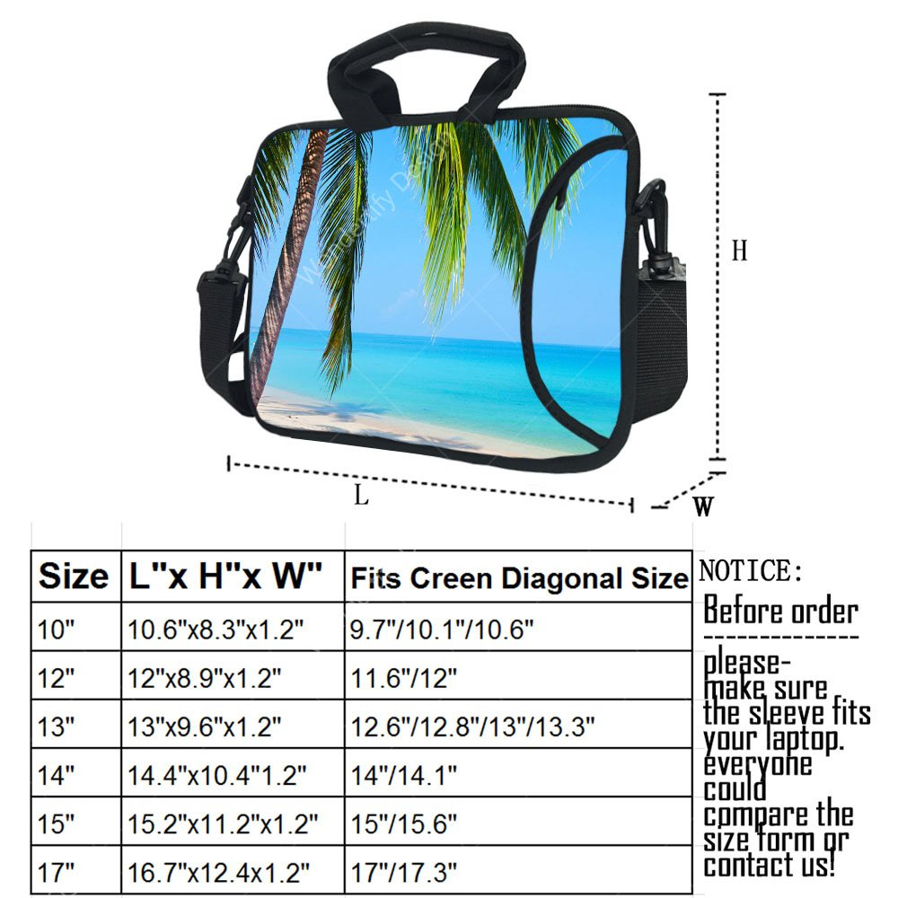 Wondertify 17-17.3 Inch Waterproof Neoprene Laptop Shoulder Bag Briefcase - Beach Sunshine Sand Palm Sea Blue Sky Summer Vacation Water Protective Bag for Macbook/Tablet/ASUS/Samsung/Lenovo/HP/Dell by Wondertify