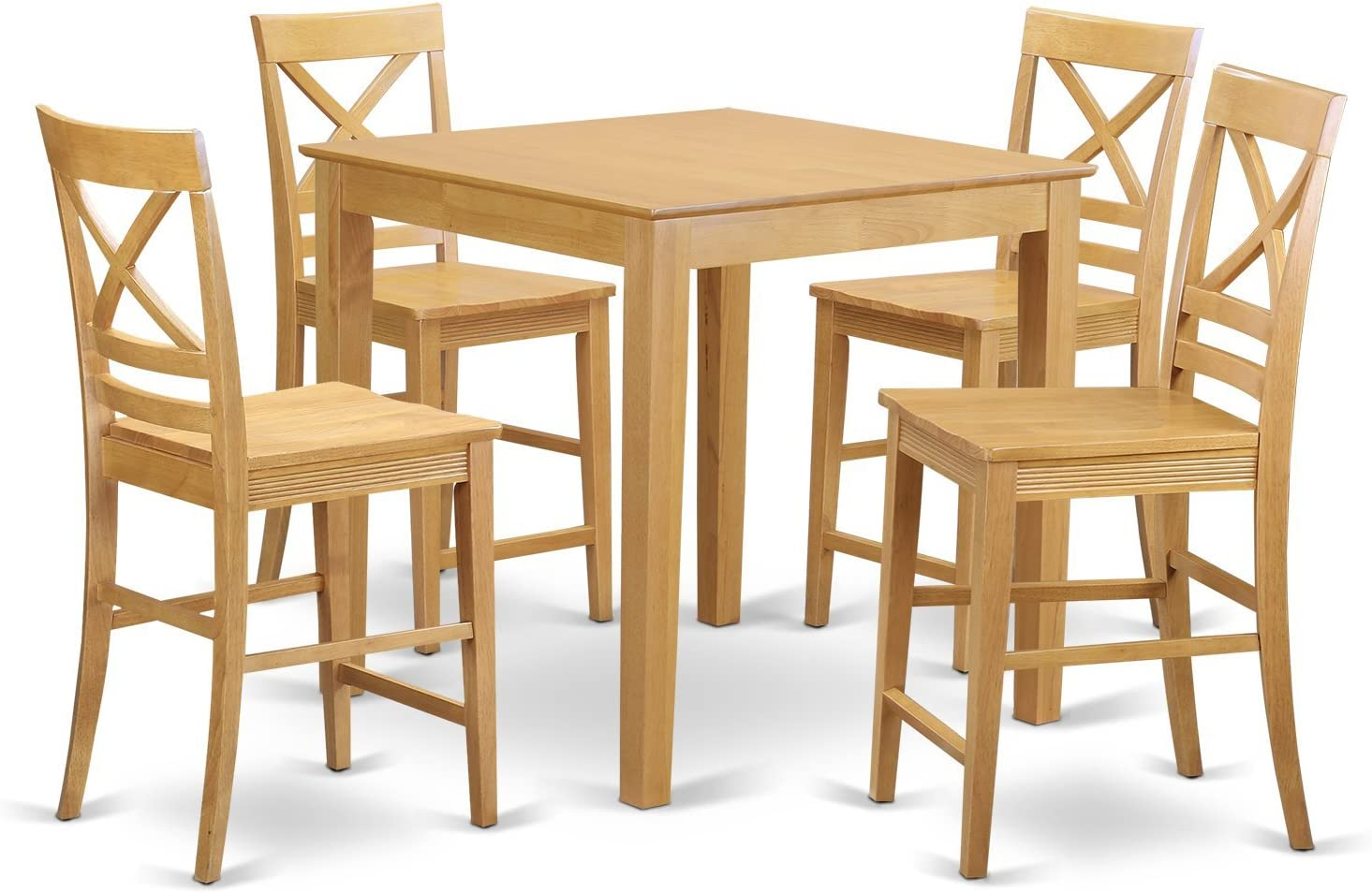 PBQU5-OAK-W 5 PC counter height Dining set – counter height Table and 4 counter height stool.
