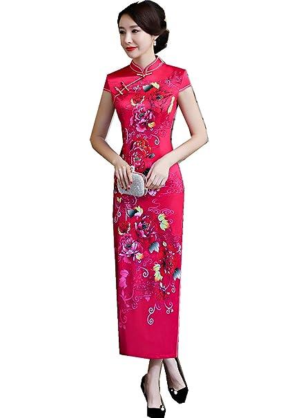 3b5c87f00 Mujer Vestidos Faux Seda Qipao Vestido Largo Cheongsam Tendencia ...