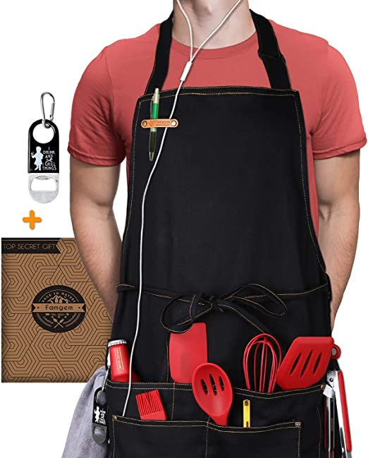 M-XXL 3 Pockets Chef Kitchen BBQ Grilling Apron with Double Towel Loop