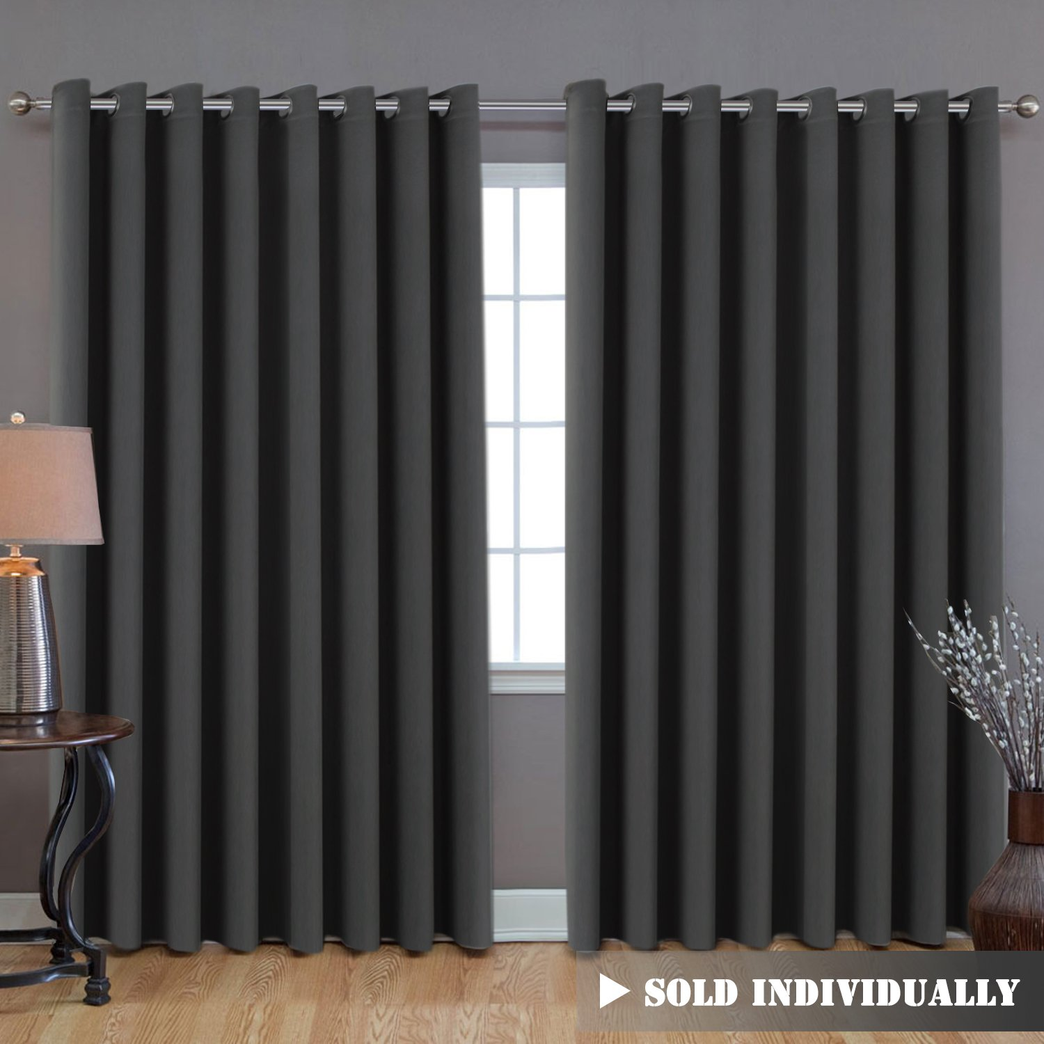 Extra Long and Wide Blackout Curtains, Thermal Insulated Premium Room Divider (Total Privacy, 9' Tall by 8.5' Wide -Grommet Wider Curtain Large Size 100 W by 108 L-Charcoal Gray H.Versailtex
