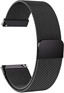 Lomet 22mm Stainless Steel Mesh Loop Bracelet Strap Compatible with Samsung Galaxy Watch 3 45mm/Gear S3 Frontier/Classic Band, Replacement for Ticwatch Pro/Samsung Galaxy Watch 46mm (1-Black)