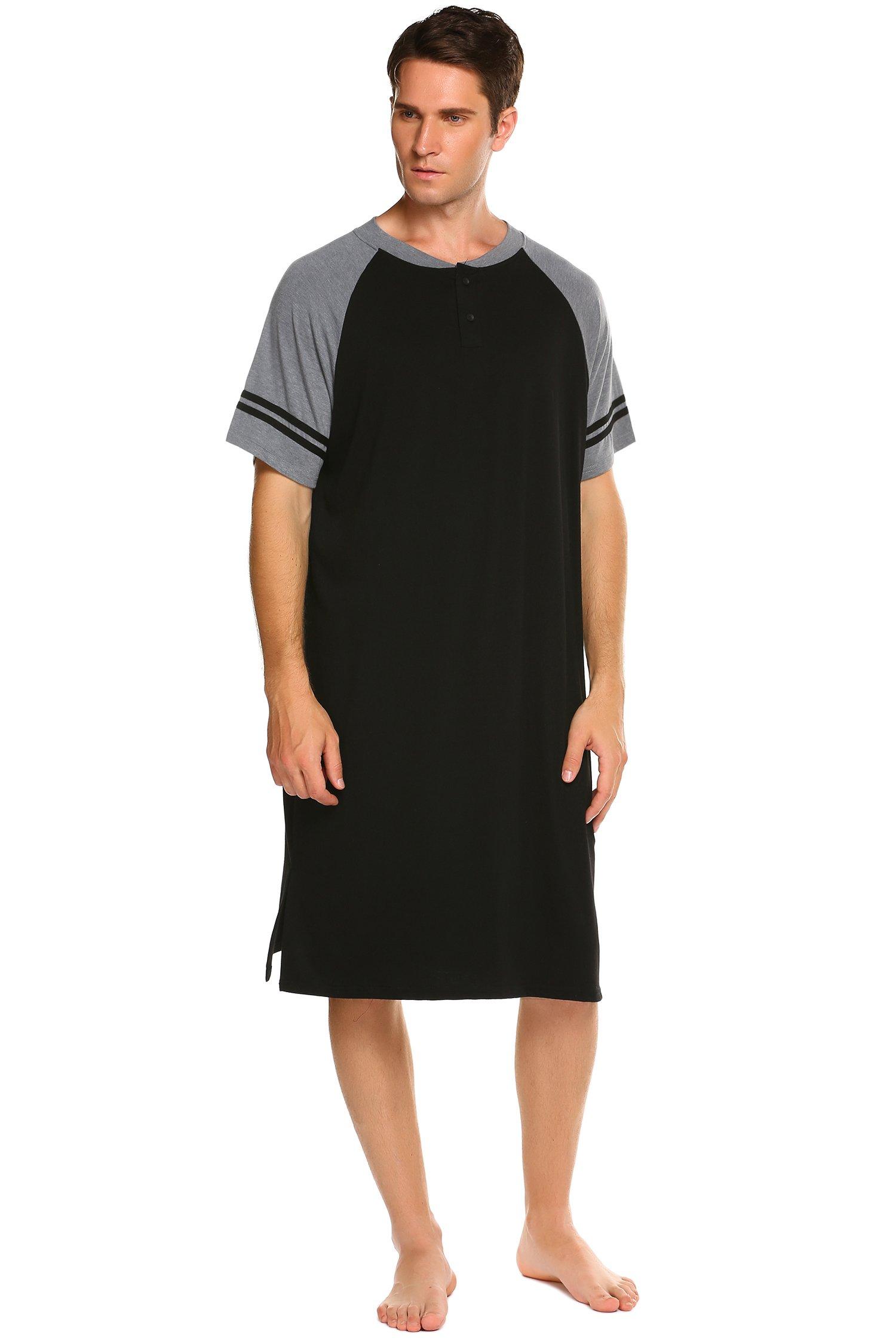 Ekouaer Men's Sleepwear Cotton Loungewear Soft Nightshirt (Black, X-Large)