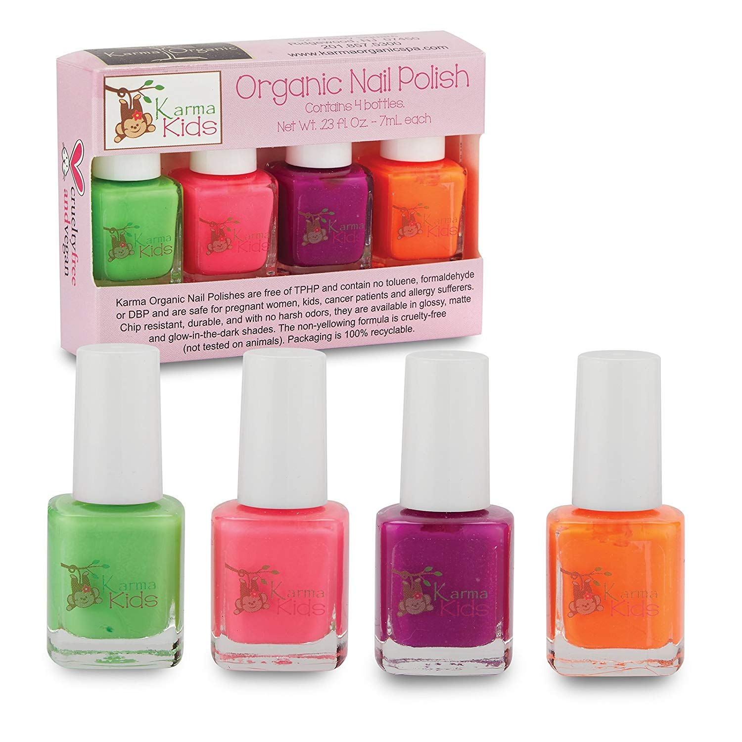 Karma Kids Nail Polish Box Set No. 2 Natural Safe Nail Polish for Little Girls - Non-Toxic, Vegan, and Cruelty Free – Quick Dry, Kids Friendly