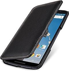StilGut® Book Type Case con Clip - Senza Magnete -, Custodia in Vera Pelle a Libro per Google Nexus 6 e Motorola Nexus 6, Nero