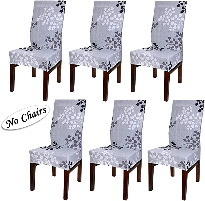 BTSKY Fabric Stretch Dining Room Chair Covers- Set of 6 Soft Spandex Fit Banquet Chair Seat Protector Slipcover with Printed Pattern for Home Party Hotel Wedding Ceremony(Style04)