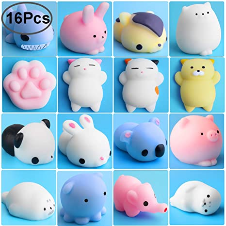 Outee Mochi Squishies, 16 Piezas Mini Squishies Squishy Mochi Animal Cat Juguetes Blandos Stress Relief