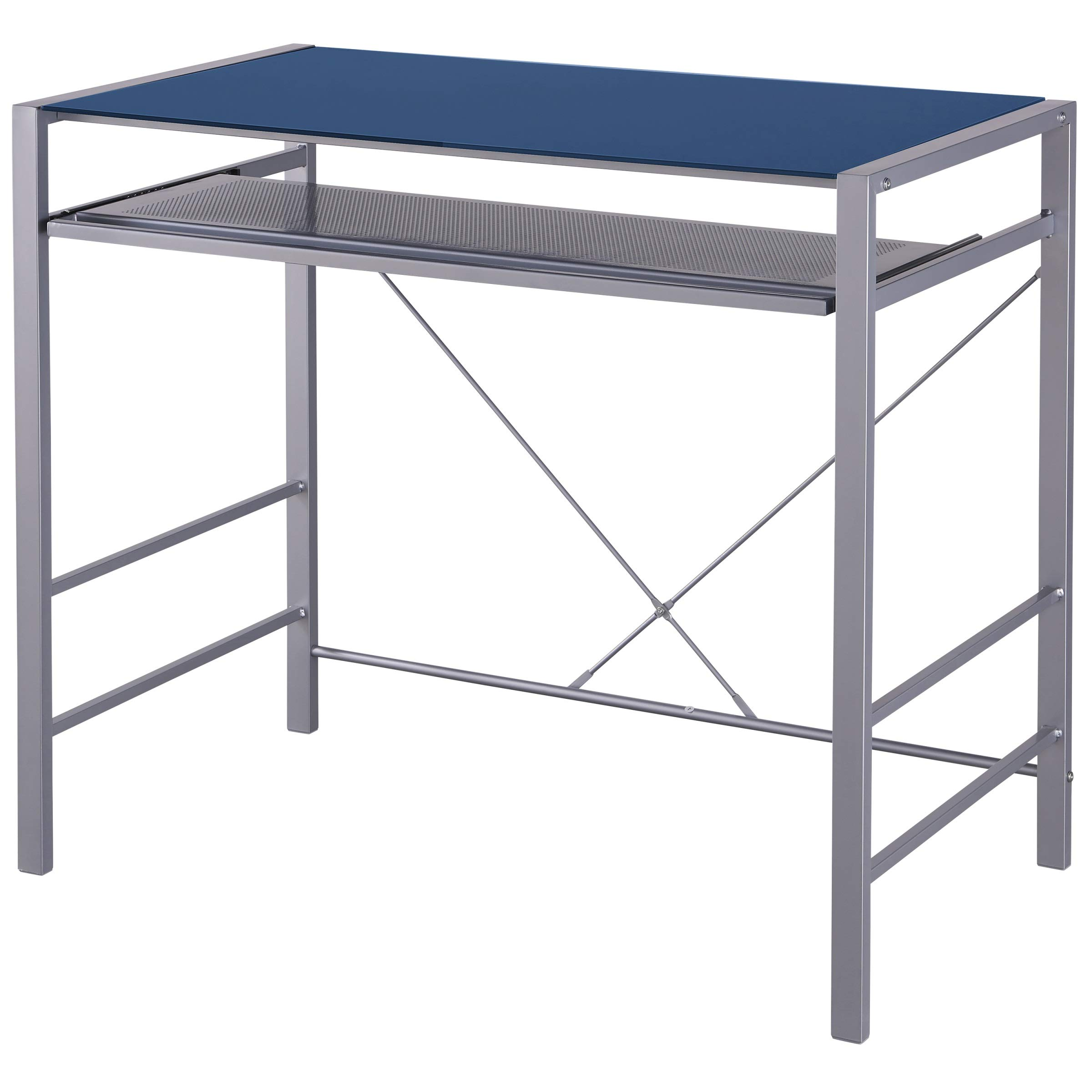 Computer Office Desk Blue Glass Material Top Modern Design Keyboard Tray Dorm College