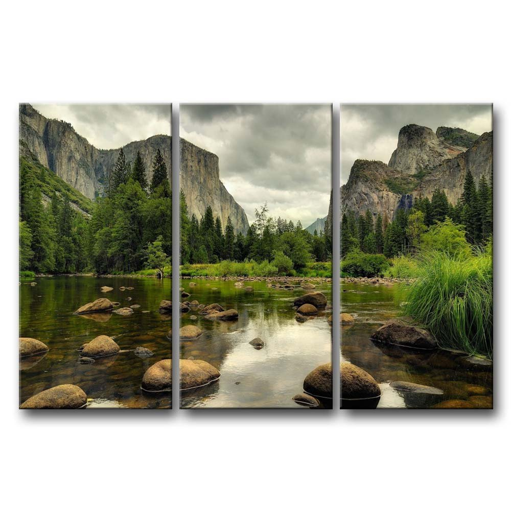 3 Pieces Green Wall Art Painting Yosemite National Park Clear Water Lake Mountain Trees Rocks Pictures Prints On Canvas Landscape The Picture Decor Oil For Home Modern Decoration Print For Items