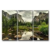 3 Pieces Green Wall Art Painting Yosemite