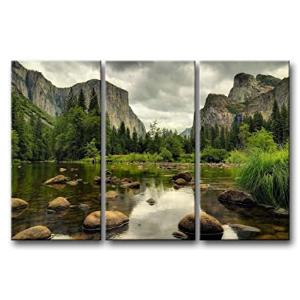 3 Pieces Green Wall Art Painting Yosemite National Park Clear Water Lake Mountain Trees Rocks Pictures