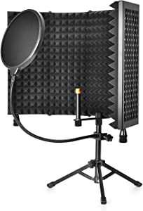 CODN Recording Microphone Isolation Shield with Pop Filter, High Density Absorbent Foam to Filter Vocal, Foldable Sound Shield for Blue Yeti, Studio and Most Condenser Microphone Recording Equipment