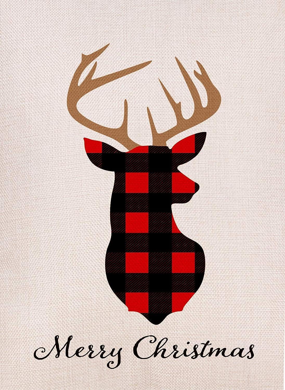 Dyrenson Home Decorative Merry Christmas Garden Flag Buffalo Plaid, Xmas Quote Deer House Yard Flag Red, Tartan Checkered Winter Garden Yard Decorations, New Year Seasonal Outdoor Flag 12 x 18 Holiday