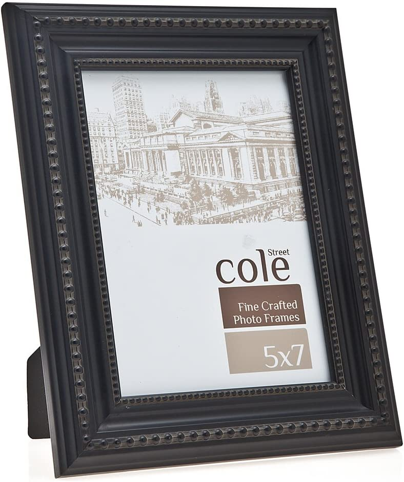 Amazon Com Philip Whitney 5x7 Distressed Black Wooden Beaded Picture Photo Frame Standing Horizontal Or Vertical With Moulding