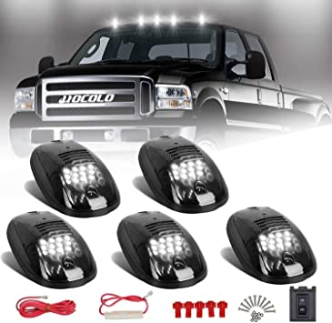 5x 12LED Smoked Cab Roof Top Marker Running Clearance Warm Light For Dodge Ram