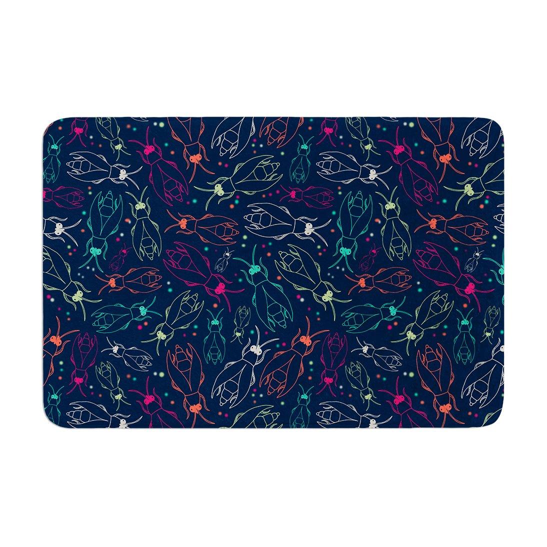 Kess InHouse 'Laura Escalante Fireflies Midnight Garden Dark Blue Memory Foam Bath Mat, 17 by 24'