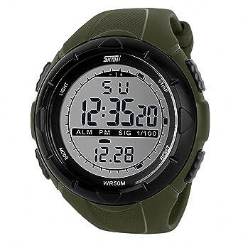 SKEMEI Unisex Hombres Correa De Caucho Reloj digital multifunción impermeable pantalla LCD luz de noche luminoso + caja: SKMEI: Amazon.es: Relojes