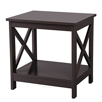 Charmant SONGMICS X Design Sofa End, Wooden Side Table With 2 Display Shelves,  Espresso