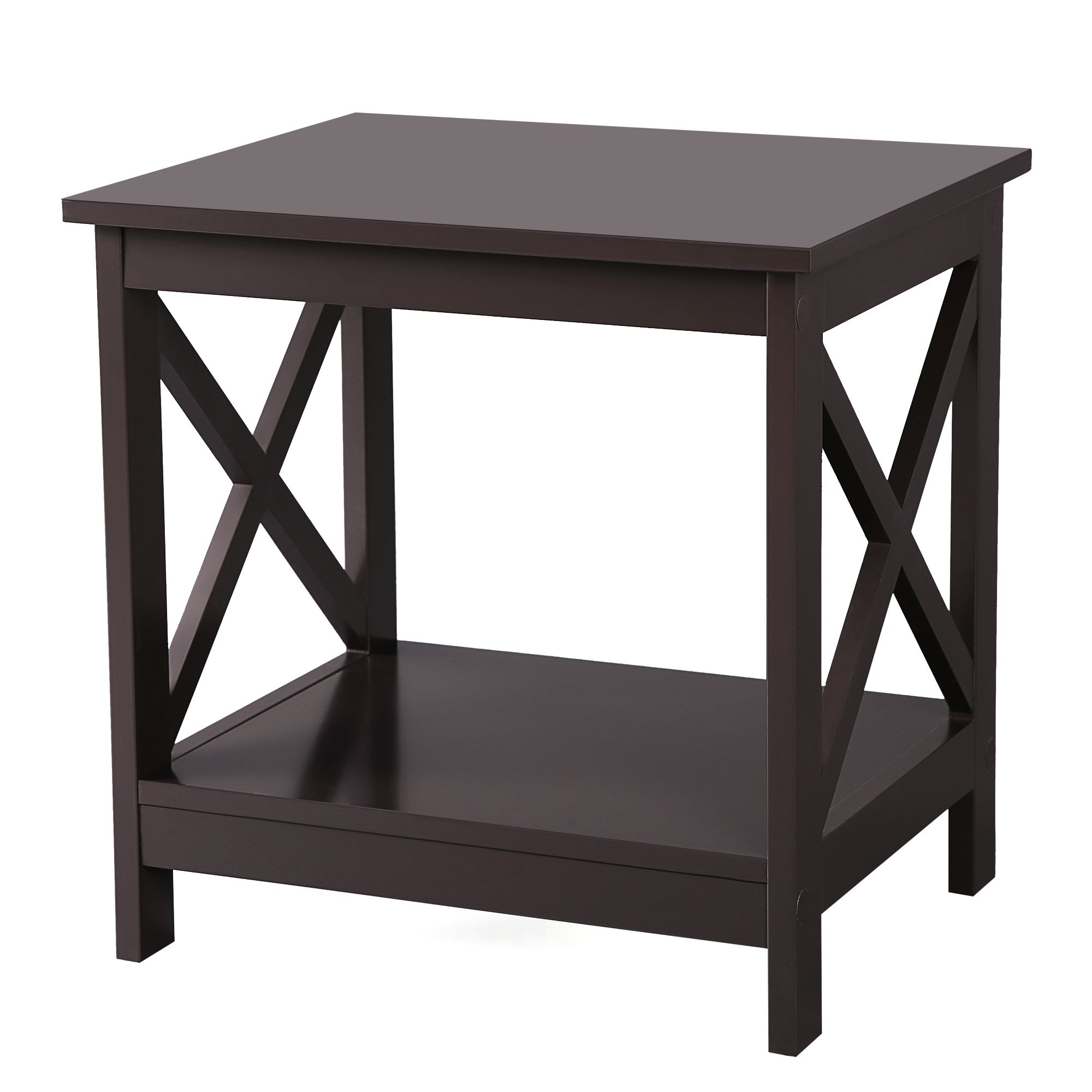 SONGMICS X-Design Sofa End Table, Wooden Side Table with 2 Display Shelves, Espresso, ULET01BR