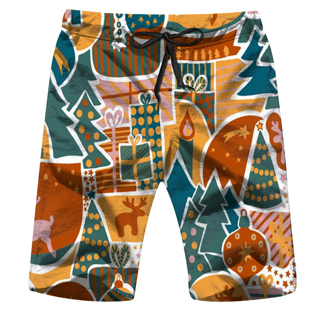 Mens Swim Trunks Christmas Modern Holiday Animal Beach Board Shorts with Pockets Cool Novelty Bathing Suits for Teen Boys