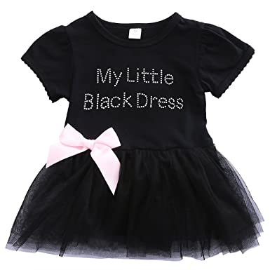 933a24412 Kids Baby Girls My Little Black Dress Bodysuit Romper Tutu Dress ...