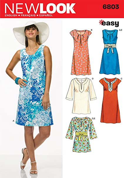 af9b4f4889f Amazon.com: New Look Sewing Pattern 6803 Misses Dresses, Size A (10-12-14-16-18-20-22):  Arts, Crafts & Sewing
