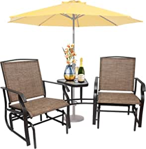 3 in 1 Outdoor Glider Chairs with Table Patio Swing Glider Chair 2-Person Outdoor Sling Fabric Double Glider Rocker Chair, Coffee Table with Umbrella Hole for Garden, Porch, Poolside