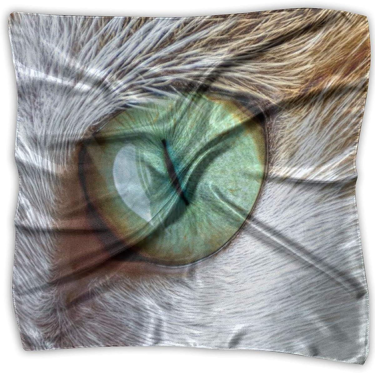 iuitt7rtree Ojo de gato verde Pañuelo de seda estampado Pañuelo cuadrado pequeño Pañuelo tendencia 7796