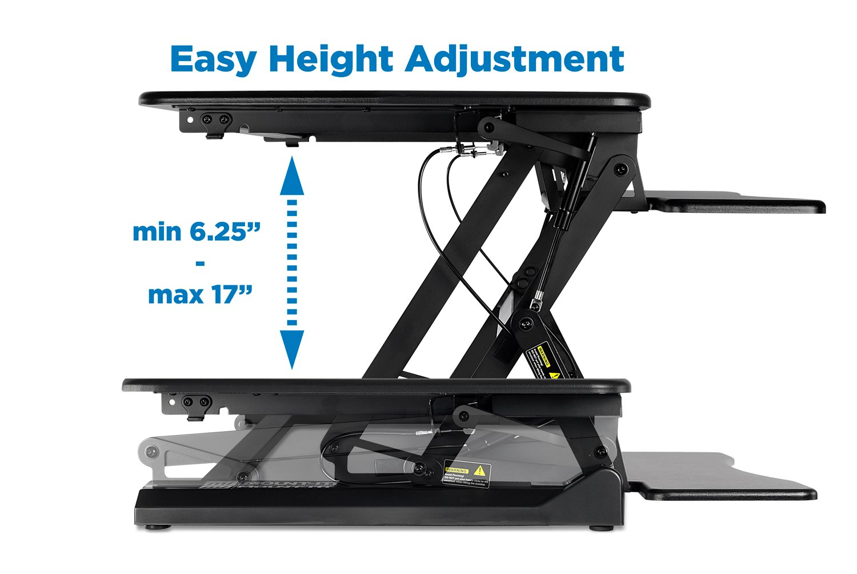 Mount-It! Standing Desk Sit-Stand Desk Converter Height Adjustable, Ergonomic, Gas Spring Arm, Free Standing, Easy Installation, Black MI-7955