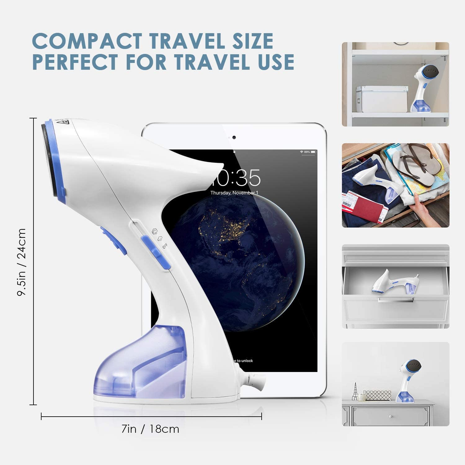 Continuous Steam Lock Easy to Grip AICOOK Steamer for Clothes 1200W 25S Travel Garment Steamer Travel Iron Brush Vertical and Horizontal Handheld Steamer Anti-drip Dual Steam Setting