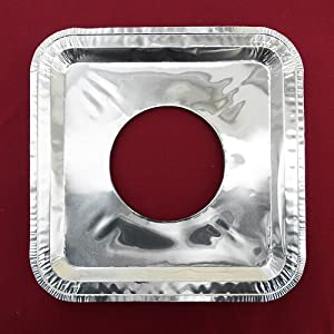 """40 PC Aluminum Foil Square Gas Burner Disposable Heavy Thick Quality Bib Liners Covers (8.5"""" Square) from Cavalier"""