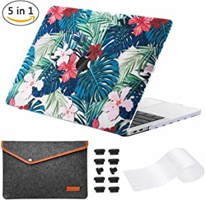"""(5 in 1) Miger MacBook Pro 13"""" Case 2017 & 2016,Hard Case Shell Cover with Keyboard Cover Protector,Felt Bag,Anti Dust Plugs for A1706/A1708 with/Out Touch Bar and Touch ID"""