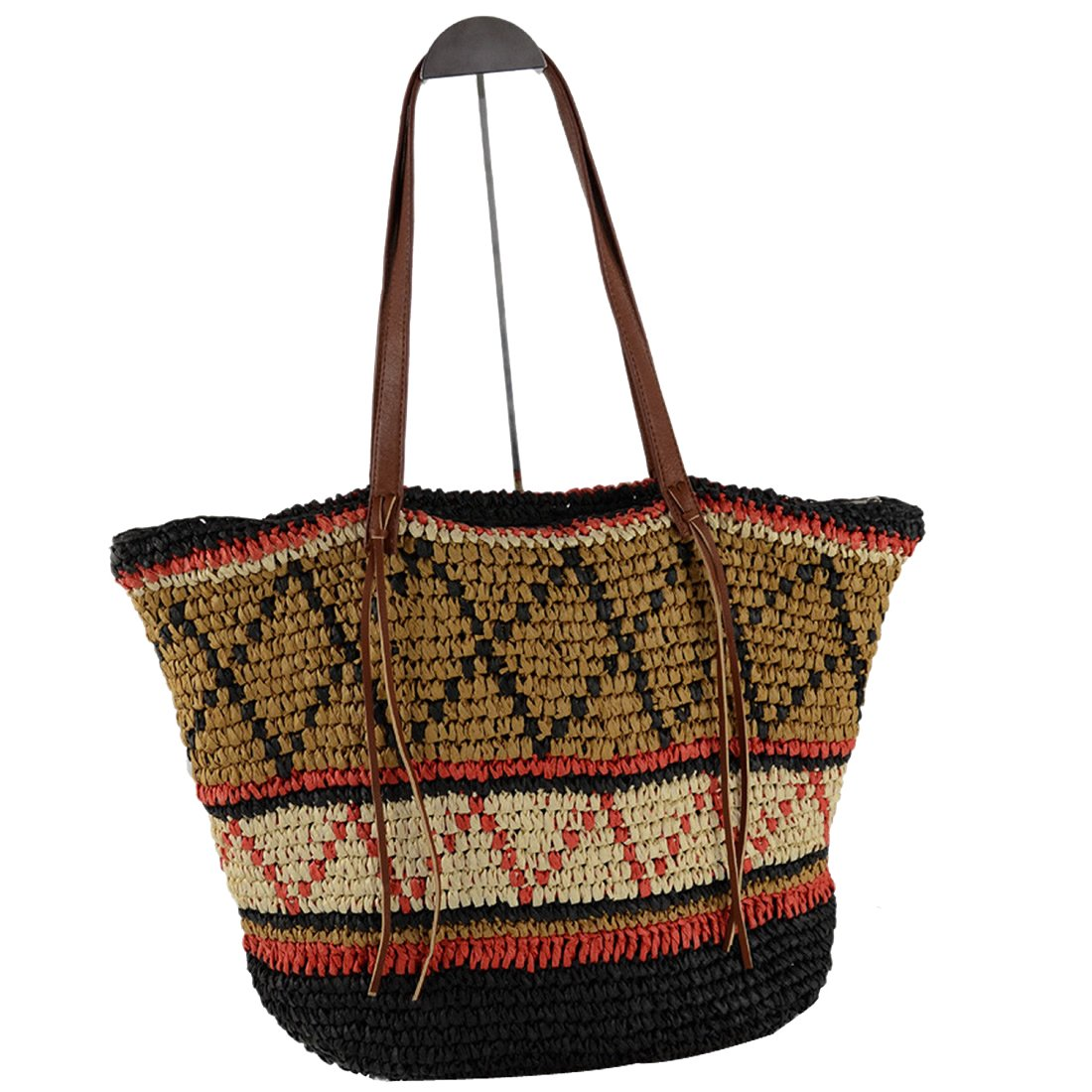 EROUGE Natural Chic Straw Bag Hand Woven Shoulder Bag Retro Summer Beach Bag Large Hobo Beach Bag