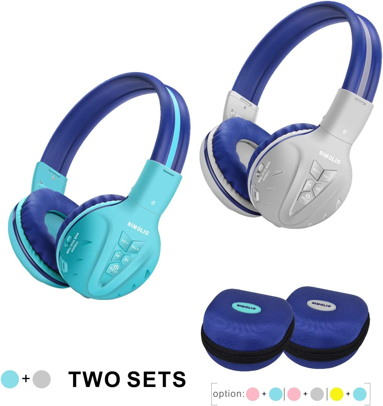 2 Pack of SIMOLIO Kids Bluetooth Headphones with Hearing Protection,Wireless Children Headphones,Kids Headphones for Boys,Girls, Wireless Kids Headphone with EVA case for School and Travel (Grey,Mint)