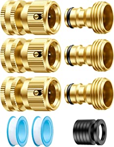 Snowpink Garden Hose Quick Connect Fittings 3/4 Inch GHT Brass Easy Connect Fitting No Leaks Water Hose Connectors Quick Release Garden Hose Connector Hose Coupler Male and Female Set, 3 Sets