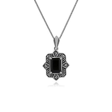 Amazon gemondo marcasite necklace sterling silver art deco gemondo marcasite necklace sterling silver art deco black spinel marcasite pendant on 45cm chain aloadofball Choice Image
