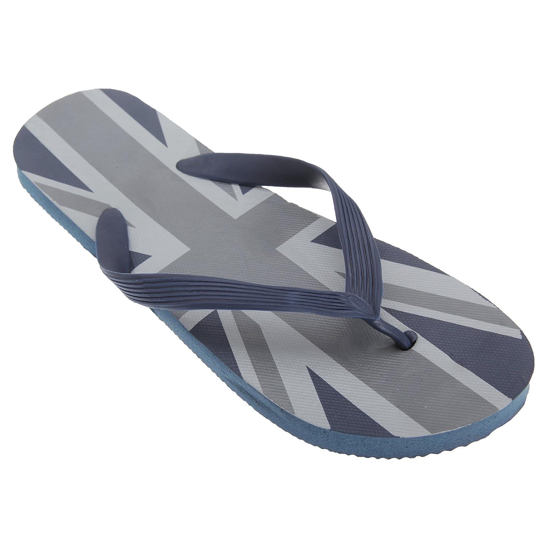 Blue//Navy Floso Mens Union Jack Design Great Britain Summer Wear Flip Flops UK 12-13, EUR 45-47